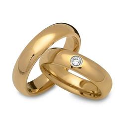 Vergoldete Eheringe aus Wolfram 5mm