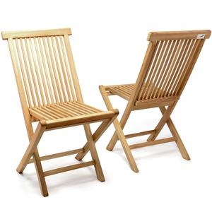 DIVERO 2er-Set Klappstuhl Teakstuhl Gartenstuhl Teak Holz Stuhl für Terrasse Balkon Wintergarten witterungsbeständig behandelt massiv klappbar natur