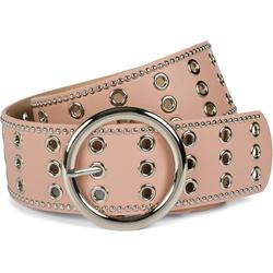 styleBREAKER Nietengürtel Breiter Taillengürtel mit Lochnieten Breiter Taillengürtel mit Lochnieten rosa 100cm