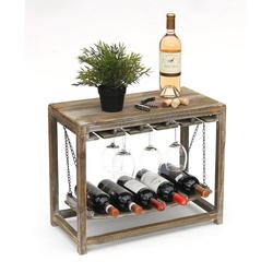 DanDiBo Weinregal Weinregal Holz Braun mit Ablage 47 cm Flaschenregal mit Glashalter 9202-R Flaschenhalter Weinschrank Regal stehend