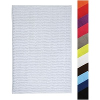 MSV, Badteppich, Badvorleger Duschvorleger CHENILLE Hochflor Badematte 40x60 cm - weiß