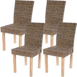4x Esszimmerstuhl Korbstuhl Stuhl Küchenstuhl Littau, Kubu-Rattan