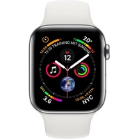 Apple Watch Series 4 GPS + Cellular 44 mm Edelstahlgehäuse silber mit Sportarmband weiß