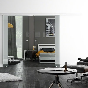 Glasschiebetür, LEVIDOR SoftStop / Soft Close, 2-flg., Klarglas