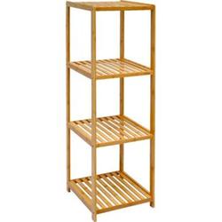 Badregal 38x39,5x124,5cm Bambus Holz Regal 4 Fächer Bad Badezimmer Standregal