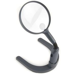 Carson Optical Gn-55 MagniLamp Standlupe mit 2-fach Vergrößerung und Spotlinse, silber,