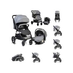 Moni Kombi-Kinderwagen Kinderwagen, Babyschale Sindy 2 in 1, klappbar, Babyschale 0+, Vorderräder schwenkbar grau