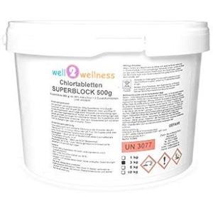 well2wellness Chlortabletten Superblock 500g mit 90% Aktivchlor - 3,0 kg (6 Blöcke)