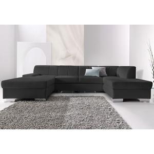 DOMO collection Wohnlandschaft schwarz Leder-Wohnlandschaft Ledersofas Sofas Couches