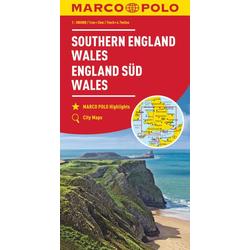 MARCO POLO Karte Großbritannien England Süd Wales 1:300 000
