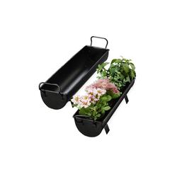relaxdays Blumenkasten Blumenkasten Dachrinne 2er Set schwarz