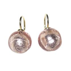 Mugello Paar Ohrhänger Murano hellrosa gold-platt. Basic-Ohrringe, handgearbeitetes Muranoglas aus Italien