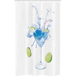 Abakuhaus Duschvorhang Badezimmer Deko Set aus Stoff mit Haken Breite 120 cm, Höhe 180 cm, Wodka Soda Martini Spritzen Lime