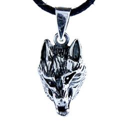 Kiss of Leather Kettenanhänger Wolf 925 Sterling Silber Anhänger Wolfskopf Wolfkopf Schädel