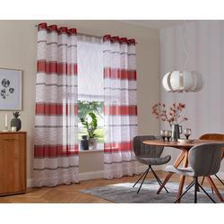 Gardine Jay, my home, Ösen (2 Stück), Vorhang, Fertiggardine, transparent rot 144 cm x 225 cm