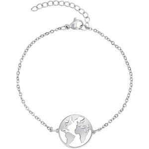Nuoli® Weltkugel Armband Silber (15 + 5cm verstellbar) Armband Damen Silber mit Erde Anhänger