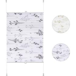 Plissee, Woltu, Faltrollo Klemmfix ohne Bohren grau 100 cm x 130 cm