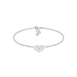 Elli Armband Ornament Herz Kristalle 925 Silber, Herz silberfarben