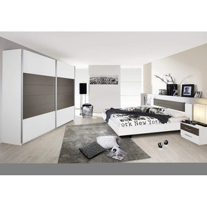Rauch Möbel Schlafzimmer, Weiß / Lavagrau, bestehend aus Bett mit Liegefläche 160x200 cm inklusive 2 Nachttische und Schwebetürenschrank BxHxT 226x210x62 cm