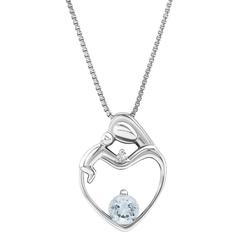 Dezente Aquamarin-Halskette Mutter & Kind mit Diamant Ella