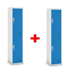 Zweitüriger schrank, 1800 x 380 x 450 mm, grau/blau, 1+1 gratis