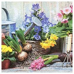 Linoows Papierserviette 20 Servietten, Frühling, Zwiebelblüher auf dem, Motiv Frühling, Zwiebelblüher auf dem Pflanztisch
