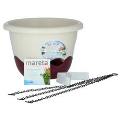 Plastia Mareta Blumenampel 30 Elfenbein / Weinrot mit Erdbewässerung