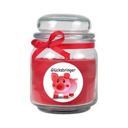 HS Candle Duftkerze (1-tlg), Kerze im Bonbonglas, Motivkerze mit ca. 70 Std. Brenndauer, Höhe: 13cm, Ø9cm rot