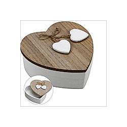 Herzholzdose weiß mit Naturholzdeckel