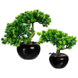 Kunstbonsai Bonsai Lärche Bonsai Lärche, Creativ green, Höhe 25 cm, im Keramiktopf, 2er Set