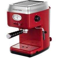 Russell Hobbs Espressomaschine Retro Rot Siebträger (15 Bar, 2 Tassen-Einsätze, 1,1l abnehmbarer Wassertank, Dampf-Milchschaumdüse, Portionierlöffel m