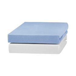 Bettlaken 2er Pack Jersey Spannlaken, weiß/blau, 70 x 140 cm, Urra weiß