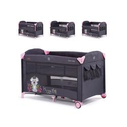 Chipolino Baby-Reisebett Reisebett Merida, Beistellbett Merida zwei Ebenen seitliche Öffnung Tasche rosa