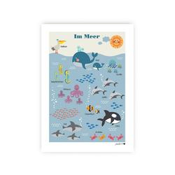 byGraziela Poster Poster Tier ABC, 50 x 70 cm blau