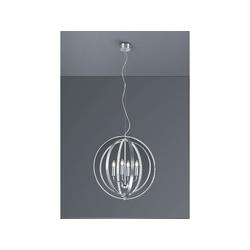 TRIO LED Kronleuchter, Lüster Kristall-Lampe Kugel-Leuchte silber Esszimmerleuchte für über Esstisch, Schlafzimmer, große Wohnzimmer-Lampe Couchtisch rund silberfarben