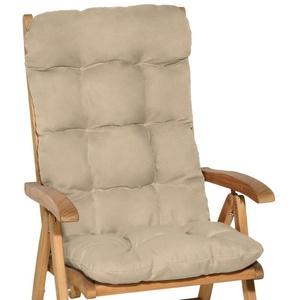 Beautissu Polsterauflage Flair HL, Hochlehner Auflage 120x50x8cm natur
