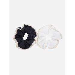 axy Zopfhalter XXL Scrunchie Haargummis Set, Doppelpack, 2-tlg., 2-Teiliges Scrunchies Haargummis Set, Zopfgummi Haarteil Haarband weiß