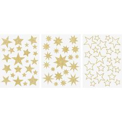 Fenstersticker Sterne, VBS, Gold, 3 Bogen