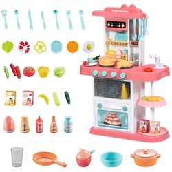 COSTWAY Spielküche Kinderküche Kinderspielküche Spielzeugküche, mit Spieluhr und Lichtern, inkl. 38 STK. Zubehör rosa