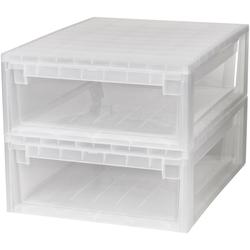 KREHER Aufbewahrungsbox 2x 22 Liter, mit Schubladen 2er Set weiß