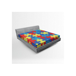 Spannbettlaken Soft Dekorativer Stoff Bettwäsche Rund-um Elastischer Gummizug, Abakuhaus, Autismus Layout von Puzzles 160 cm x 200 cm