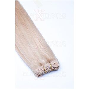 Weft Extensions Echthaar Tresse GlamXtensions glatt 100% Remy indisches Echthaar Human Hair - 20cm in der Farbe #60 Weißblond - Haarverlängerung Haarverdichtung zum Einnähen