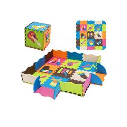 COSTWAY Puzzlematte Puzzlematte, 50 Puzzleteile, 50 Stück mit Zaun, Bodenspielmatte mit abnehmbaren Musikinstrumentenmustern, Kinderteppich für Baby und Kinder, Spielteppich Eva, Krabbelmatte