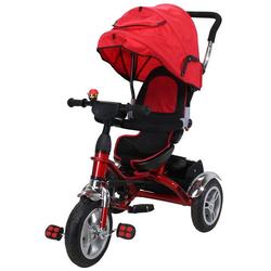miweba Kinder-Buggy Kinderdreirad 7 in 1 Schieber Kinderwagen, 360° Drehbar - Luftreifen - Dreirad - Ab 1 Jahr rot