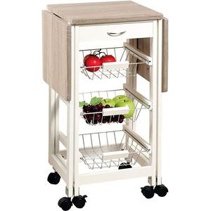 KESPER Küchenwagen 25817-13 mit 2 ausklappbaren Arbeitsplatten/Dekorfolie Eiche/Servierwagen