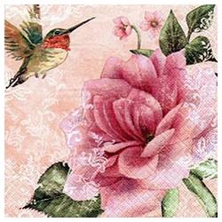 Linoows Papierserviette 20 Servietten Kolibris und Rosen, romantische, Motiv romantische Rosen Motive
