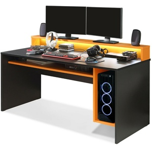 TEZO II Gaming Schreibtisch Gamertisch Dekor Schwarz Orange 160x69 inkl. LEDs