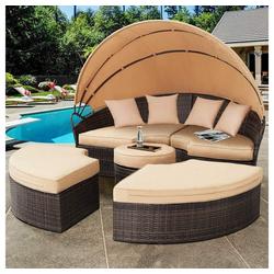 Mucola Gartenmöbelset Polyrattan Sonneninsel 180CM Gartenmuschel Sonnenliege Loungebett Gartenmöbel Strandkorb, (4-tlg)