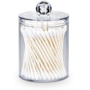 AOMOM Glas-Wattestäbchen-Halter – Behälter, Badezimmer-Vorratsdosen, Toiletten-Organizer, Make-up, für Baumwollbälle, Wattepads, Q-Tips Halter mit Deckel farblos