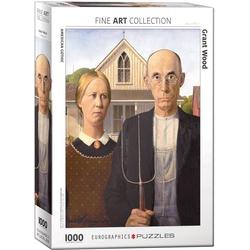 empireposter Puzzle Grant Wood - American Gothic - 1000 Teile Puzzle im Format 68x48 cm, 1000 Puzzleteile